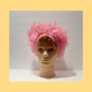 Vintage 1960 head scarf with fabric petals pink